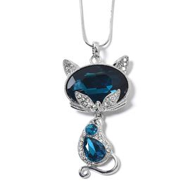 Simulated Blue Topaz (Ovl), White and Blue Austrian Crystal Kitty Pendant with Chain (Size 29 and 2.5 inch Extender) in Silver Tone