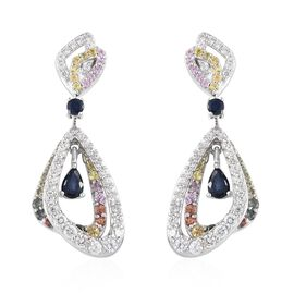 Kanchanaburi Blue Sapphire (Pear), Rainbow Sapphire and Natural Cambodian Zircon Earrings (with Push