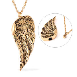 2 Piece Set - Angel Wing Memorial Pendant with Chain (Size 20) and Funnel with Needle in Yellow Gold