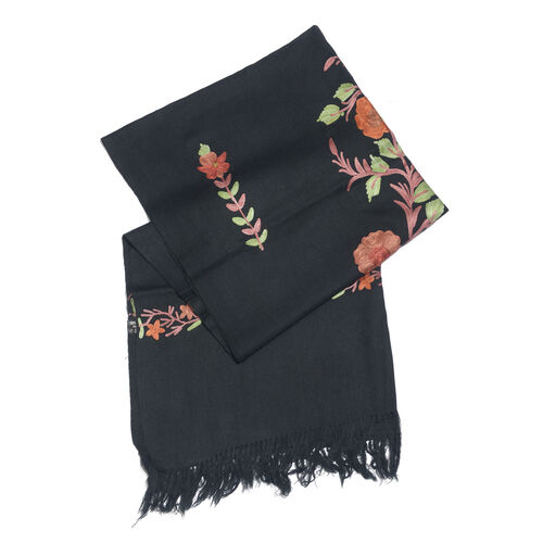 100% Merino Wool Black, Pink and Multi Colour Floral and Leaves Embroidered Scarf with Tassels (Size 180X70 Cm)