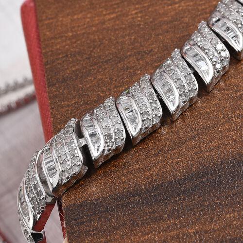 Diamond (Bgt and Rnd) Bracelet (Size 9.5 Adjustable) in Platinum Overlay Sterling Silver 1.000 Ct.