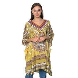 Mustard, Green and Multi Colour Digital Printed Kaftan One Size (90x75 Cm)