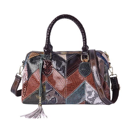 100% Genuine Leather Snake Skin Pattern Tote Bag with Zipper Closure and Adjustable Shoulder Strap (