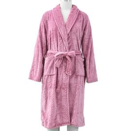 Microfibre Braided Pattern Robe with Shawl Collar and Two Pockets (Size 65x120 Cm) - Pink