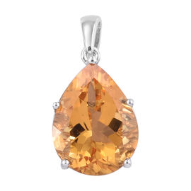 Uruguay Citrine (Pear 16x12 mm) Pendant in Platinum Overlay Sterling Silver 7.750 Ct.