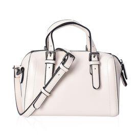 100% Genuine Leather Cream Colour Tote Bag (Size 20x10.5x13 Cm) with Detachable Shoulder Strap (110