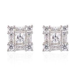 J Francis - Platinum Overlay Sterling Silver (Princess) Stud Earrings Made with SWAROVSKI ZIRCONIA 7