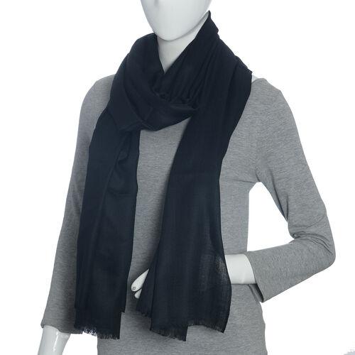 100% Cashmere Wool Black Colour Scarf (Size 200x70 Cm)