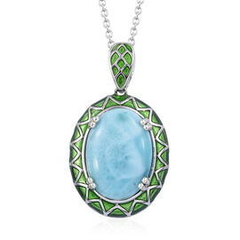 13.25 Ct Larimar Halo Pendant with Chain in Platinum Plated Sterling Silver