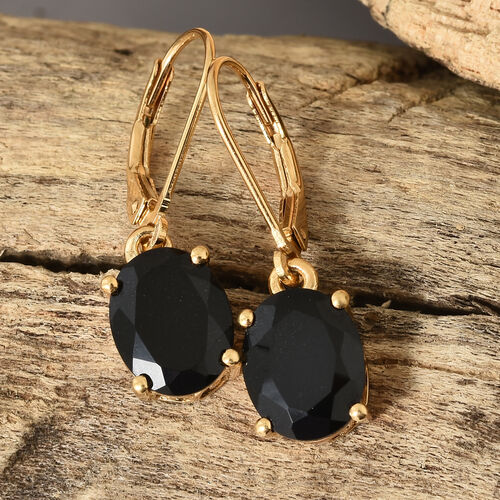 Black Tourmaline (Ovl) Lever Back Earrings in 14K Gold Overlay Sterling Silver 5.000 Ct.
