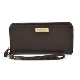 100% Genuine Leather RFID Blocker Ladies Wallet with Zipper Closure (Size 20x11 Cm) - Dark Brown Col