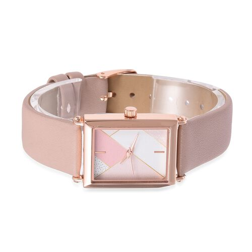 STRADA Japanese Movement Water Resistant Rose Gold Plated Watch with Pastel Pink Colour Strap.