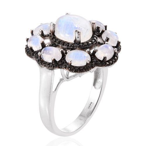 Sri Lankan Rainbow Moonstone (Ovl 3.20 Ct) Floral Inspired Ring in Platinum and Black Rhodium Overlay Sterling Silver 7.500 Ct. Silver wt 6.55 Gms.