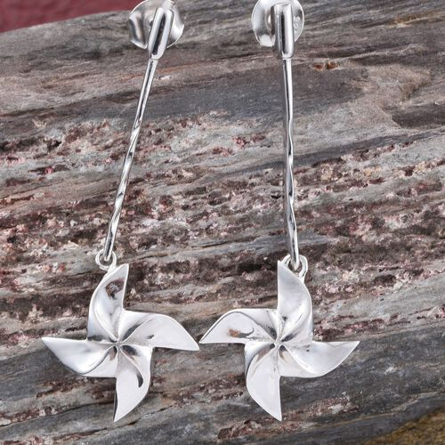 Origami Wind Mill Earrings  in Platinum Overlay Sterling Silver, Silver wt 5.17 Gms (with Push Back)
