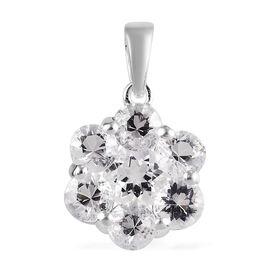 160 Ct Petalite Floral Pressure Set Floral Pendant in Sterling Silver
