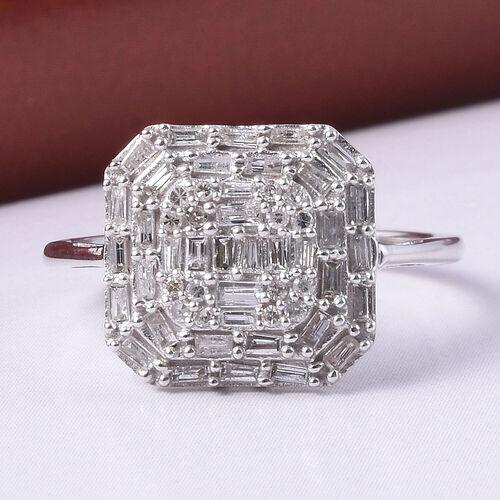 9K White Gold SGL Certified Diamond (I3/G-H) Cluster Ring 0.50 Ct.