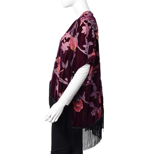 Spring - Summer Collection - Designer Inspired Wine Red, Purple and Multi Colour Rose Flower Pattern Kimono with Tassels (Free Size)