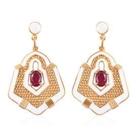Limited Edition- African Ruby Enamelled Earrings (with Push Back) in 14K Gold Overlay Sterling Silve