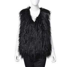 Designer Inspired Super Soft Black Colour Faux Fur Vest (Size 60X52 Cm)