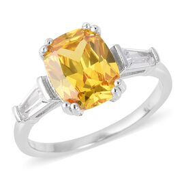 ELANZA Simulated Yellow Sapphire (Cush), Simulated Diamond Ring in Rhodium Overlay Sterling Silver