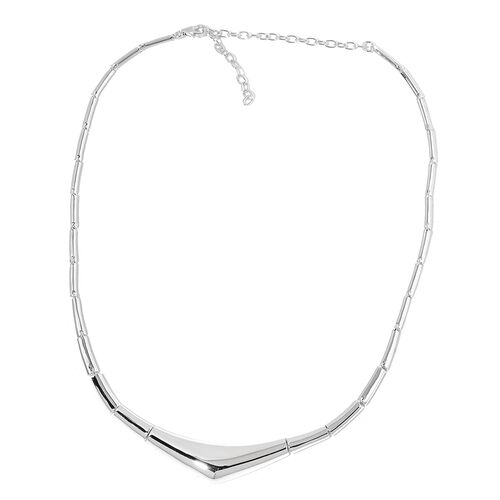 LucyQ PEBBLE Necklace (Size 16 with 4 inch Extender) in Rhodium Plated Sterling Silver 34.71 Gms.