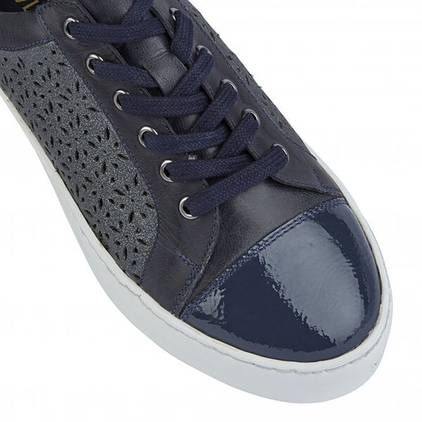 Lotus Navy Leather Cologne Lace-Up Trainers (Size 7)