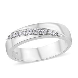 RHAPSODY 950 Platinum IGI Certified Diamond (Rnd) (VS/E-F) Band Ring 0.100 Ct, Platinum wt 7.30 Gms.