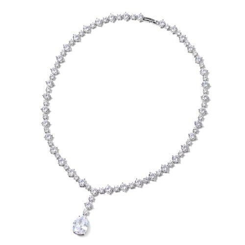 Lustro Stella Simulated Diamond Statement Necklace in Rhodium Plated Silver 26.71 Grams 18 Inch