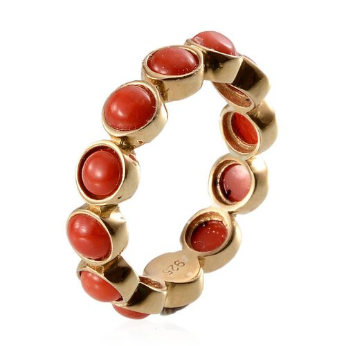 Natural Mediterranean Coral (Rnd) Ring in 14K Gold Overlay Sterling Silver 3.000 Ct.