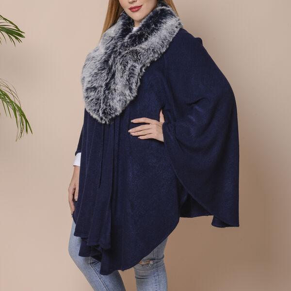 Half Moon Faux Fur Collar Cape (Size 124x76 Cm) - Navy Blue Colour