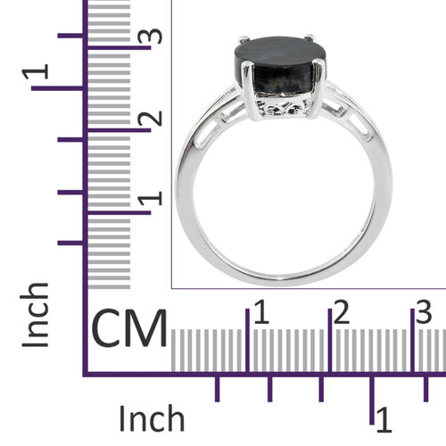 Natural Spectrolite (Ovl) Solitaire Ring in Sterling Silver 2.750 Ct.
