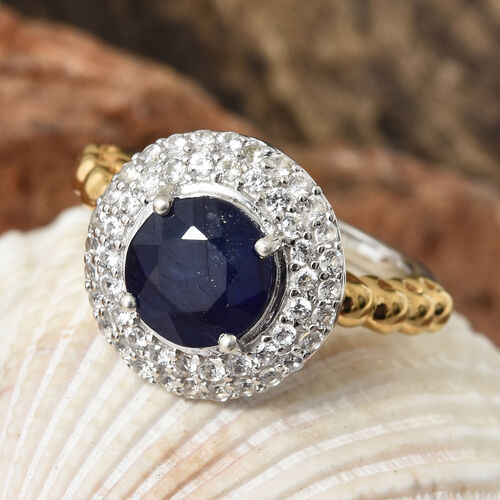 Fissure Filled Blue Sapphire (Rnd 2.70 Ct), Natural Cambodian Zircon Ring in Platinum and Yellow Gold Overlay Sterling Silver 3.500 Ct.