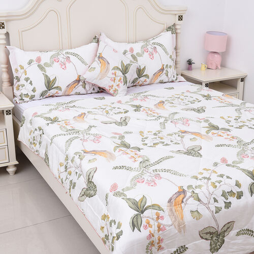 4 Piece Set - Tree and Bird Pattern 100% Mulberry Silk Filled Quilt with 100% Cotton Cover, 2 Pillow