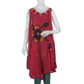 Floral Printed Umbrella Dress (Size 116x132 Cm) - Pink Colour