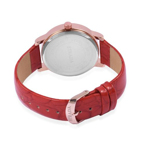 STRADA Japanese Movement Red and Pink Colour Enameled Flower Dial Water Resistant Watch with White Austrian Crystal in Rose Gold Tone with Red Colour Strap