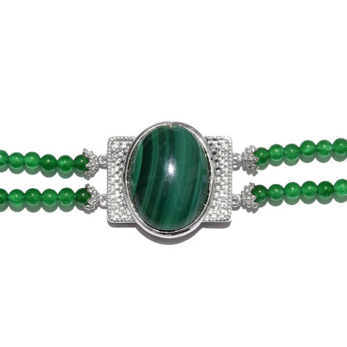 Malachite (Ovl 27.50 Ct), Green Quartzite Dual Strand Bracelet (Size 7.5) in ION Plated Platinum Bond and Stainless Steel 44.750 Ct.