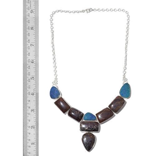 Australian Boulder Opal Rock Necklace (Size 17.5) in Sterling Silver 188.000 Ct. Silver wt. 25.10 Gms.