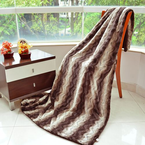 Supersoft 460 GSM Faux Fur Blanket in Brown Tones with Matching Colour Sherpa Reverse (Size 150x200 cm)