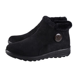 Suedette Warm Lined Ankle Boots with Button Details (Size 6) - Black