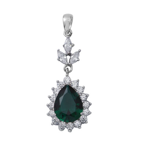 2 Piece Set - ELANZA Simulated Emerald (Pear 13x10 mm), Simulated Diamond Drop Dangle Earrings (with Push Back) and Pendant in Rhodium Overlay Sterling Silver, Silver wt 7.00 Gms.
