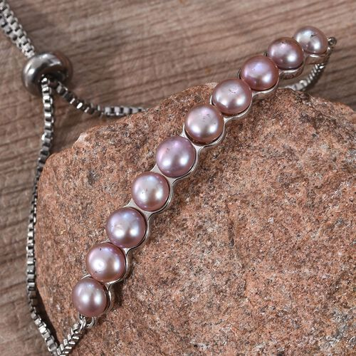 Freshwater Pink Pearl (Rnd) Adjustable Bolo Bracelet (Size 6.5-9) in Platinum Plated
