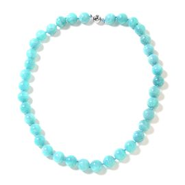 Russian Amazonite (Rnd) Beads Necklace (Size 20) in Rhodium Overlay Sterling Silver 453.000 Ct.