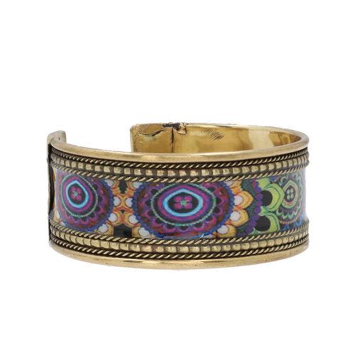 Meena Work Cuff Bangle (Size 7.5) in Antique Brass