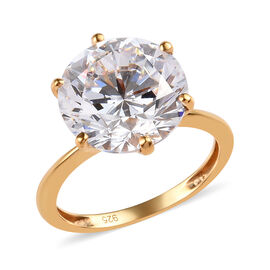 J Francis Made with SWAROVSKI ZIRCONIA Solitaire Ring in 14K Gold Plated Silver