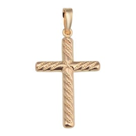 Vicenza Collection Spiral Cross Pendant in 9K Rose Gold