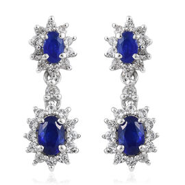 Blue Spinel (Ovl), Natural Cambodian Zircon Earrings (With Push Back) in Platinum Overlay Sterling Silver 2.750 Ct.