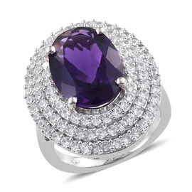 Rare Size Zambian Amethyst (Ovl 14x10 mm), Natural Cambodian Zircon Ring (Size S) in Platinum Overlay Sterlin
