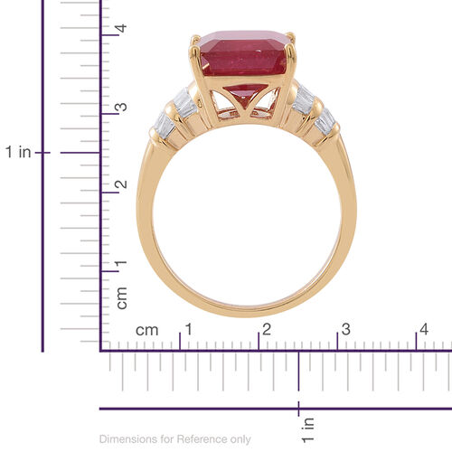 African Ruby (Oct), White Topaz Ring in 14K Gold Overlay Sterling Silver 10.000 Ct.