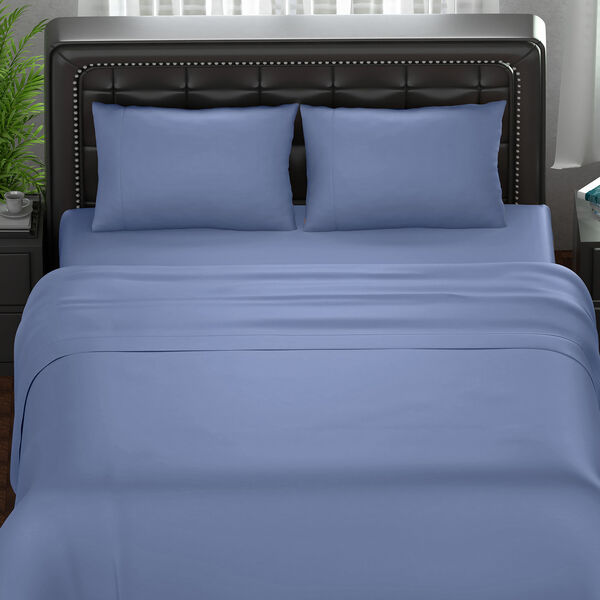 Serenity Night 4 Piece Set - 100% Bamboo Sheet Set Inclds. 1 Flat Sheet (230x265cm), 1 Fitted Sheet (140x190+30cm) & 2 Pillowcases (50x75cm) in Blue - DOUBLE