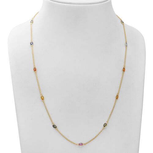Multi Sapphire Station Necklace (Size 24 with 1 inch Extender) in Yellow Gold Overlay Sterling Silver 7.28 Ct